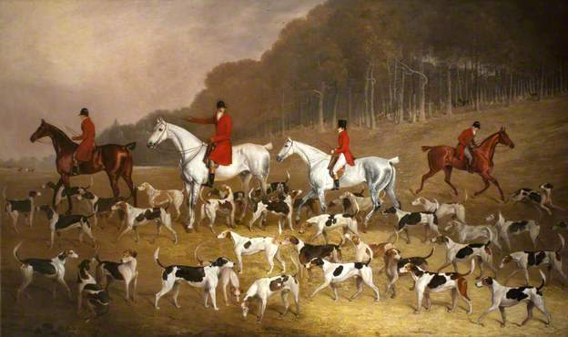 Sir Jacob Astley (1797–1859), 6th Bt, 16th Baron Hastings, on a Grey Hunter, with Huntsmen and Hounds at Melton Constable