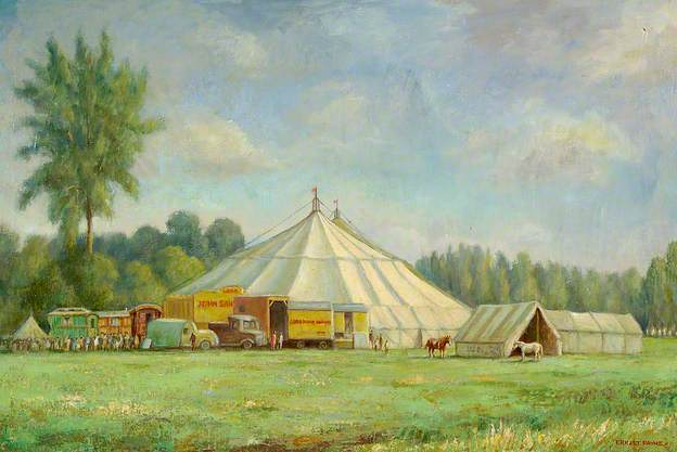 Lord John Sanger's Circus on Holywell Meadow, Bury St Edmunds, Suffolk