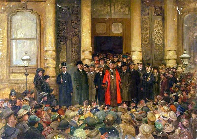 Mayor and Councillors at Ipswich Town Hall at the Declaration of Peace, 1918