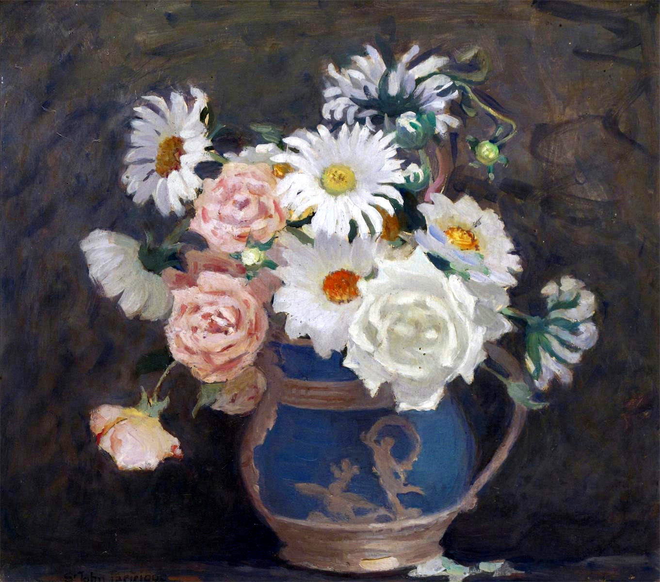 Roses and Daisies in a Jug