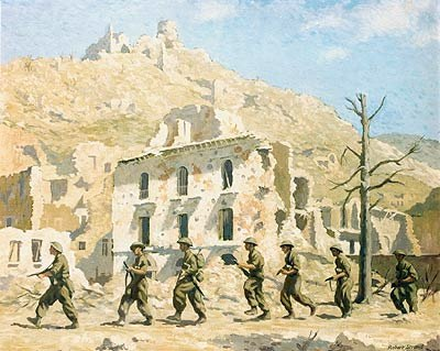 Men of 1/6th Surreys entering the town of Cassino