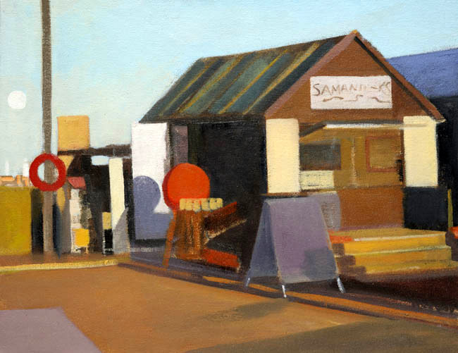Huts with Rising Moon, Southwold