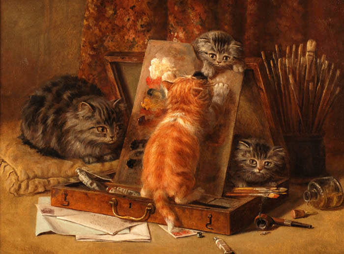 Kittens Playing in the Artist Paint Box