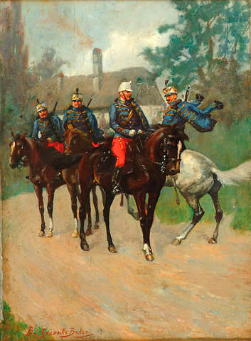 Hussars Passing by on a Road