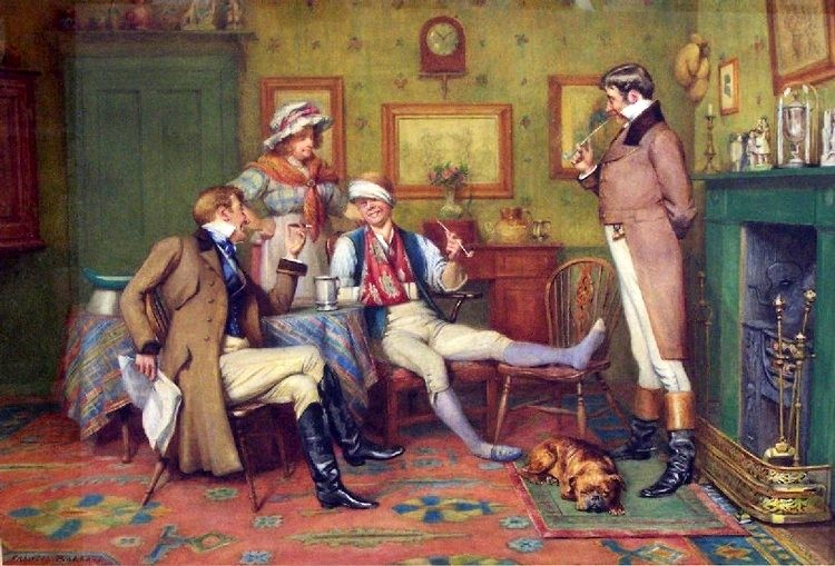 Interior scene with gentlemen