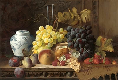 A Ginger Jar with Plums, Peach, Pear &c.