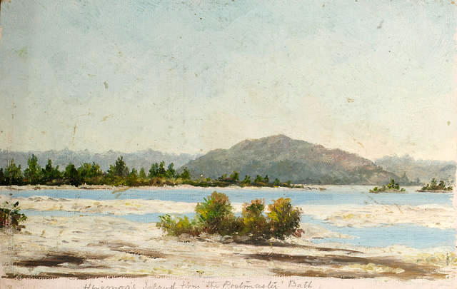 Hinemoa's Island from Postmaster Bath [New Zealand]