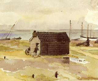 Fishing Shed and Boats on the Beach