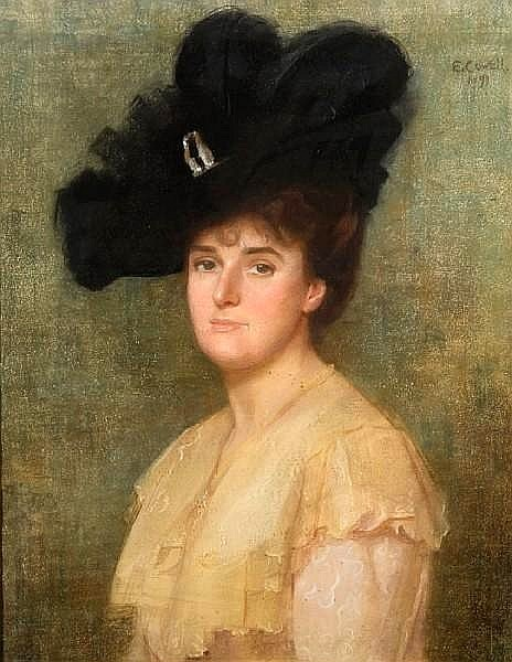 Portrait of a Lady wearing a Feathered Hat