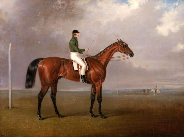 Lord William Hill, Captain Royal Scots Greys' (1816-1844) riding a race horse, wearing racing colours