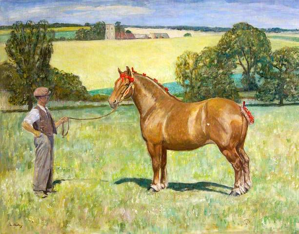 Joe Stearn with the mare 'Rowhedge Myrtle', with Alpheton Church, Suffolk in the Background