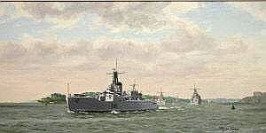 HMS Berwick (F.5) Leads the Squadron out of Plymouth