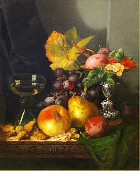 Plums, raspberries and white currants in a tazza with black grapes, a peach, a pear, whitecurrants, plums and hazelnuts on a draped wooden table with a roemer