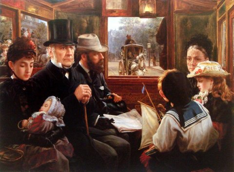 An Omnibus Ride to Piccadilly Circus: Mr Gladstone Travelling with Ordinary Passengers