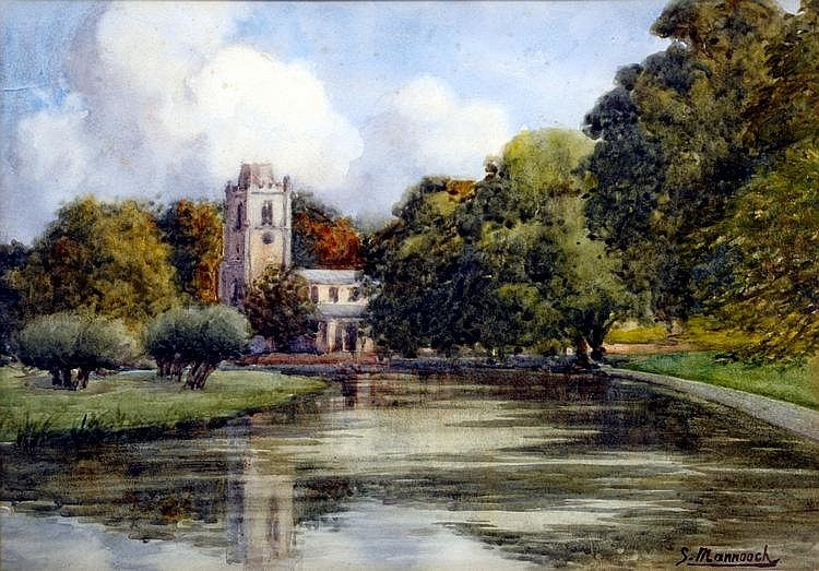 British Church in River Landscape