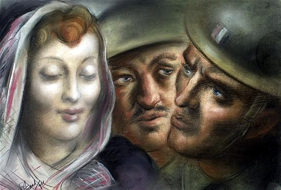 Woman and Soldiers