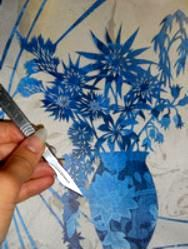 Cut Flowers in Blue