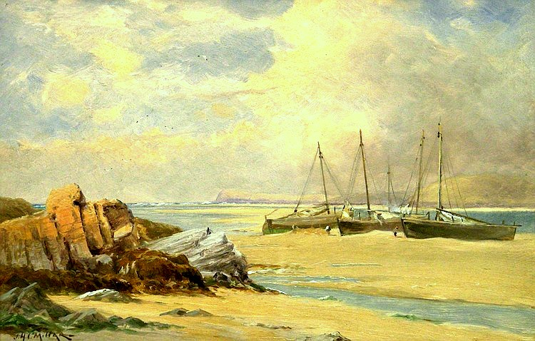 Coastal Scene with Beached Boats