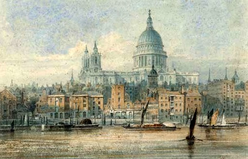 Barges on the Thames before St  Paul's Cathedral