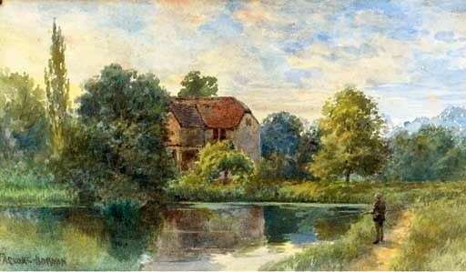Fly-fishing before a Watermill