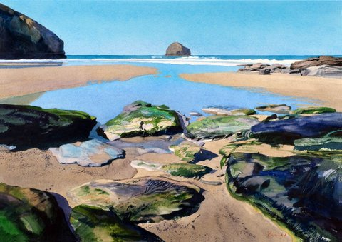 Trebarwith Strand, and Gull Rock