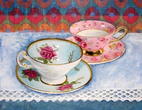 Two Cups on Linen
