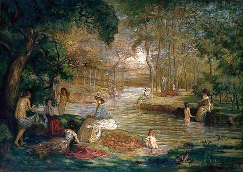 Women Bathers by a River