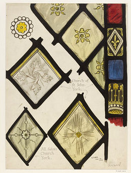 Drawing of 15th century Stained Glass in the Churches of St John and All Saints, York