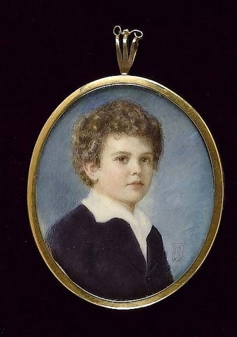 A Young Boy, Wearing Royal Blue Coat And White Chemise