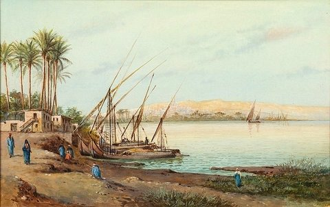 Dhows on the River Bank