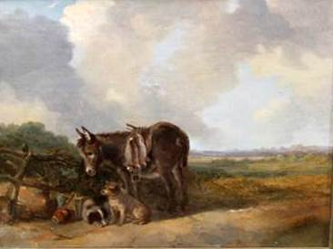Donkey and Two Dogs in a rural landscape