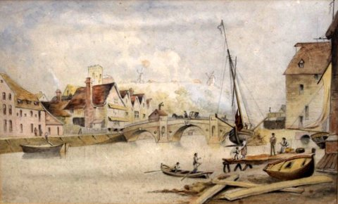 Stoke Hills & Bridge, viewed from St Peter's Dock, 1800