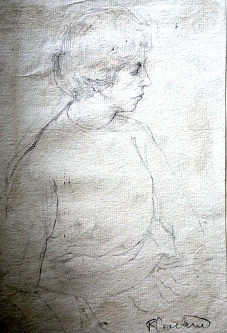 Three-quarter portrait from right side of short-haired female figure in jumper and skirt