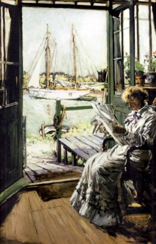 Summer's Day - View towards Southwold from the artist's studio with his wife Jessie in the foreground