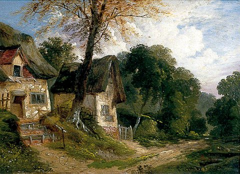 Thatched Cottages by a Woodland Track