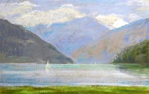 Blue Day, Lake Thun, View from Spiez, Switzerland