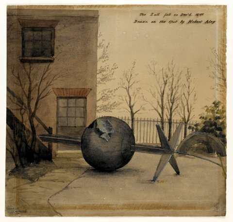 Fallen Time Ball in the Courtyard of the Royal Observatory, Greenwich
