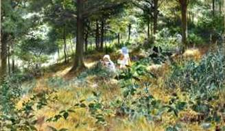 Children in Dappled Woodland Sunshine