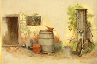 Still Life with Barrel, Pump and Vessels