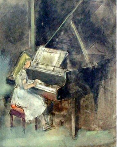 A Young Girl Playing her Piano